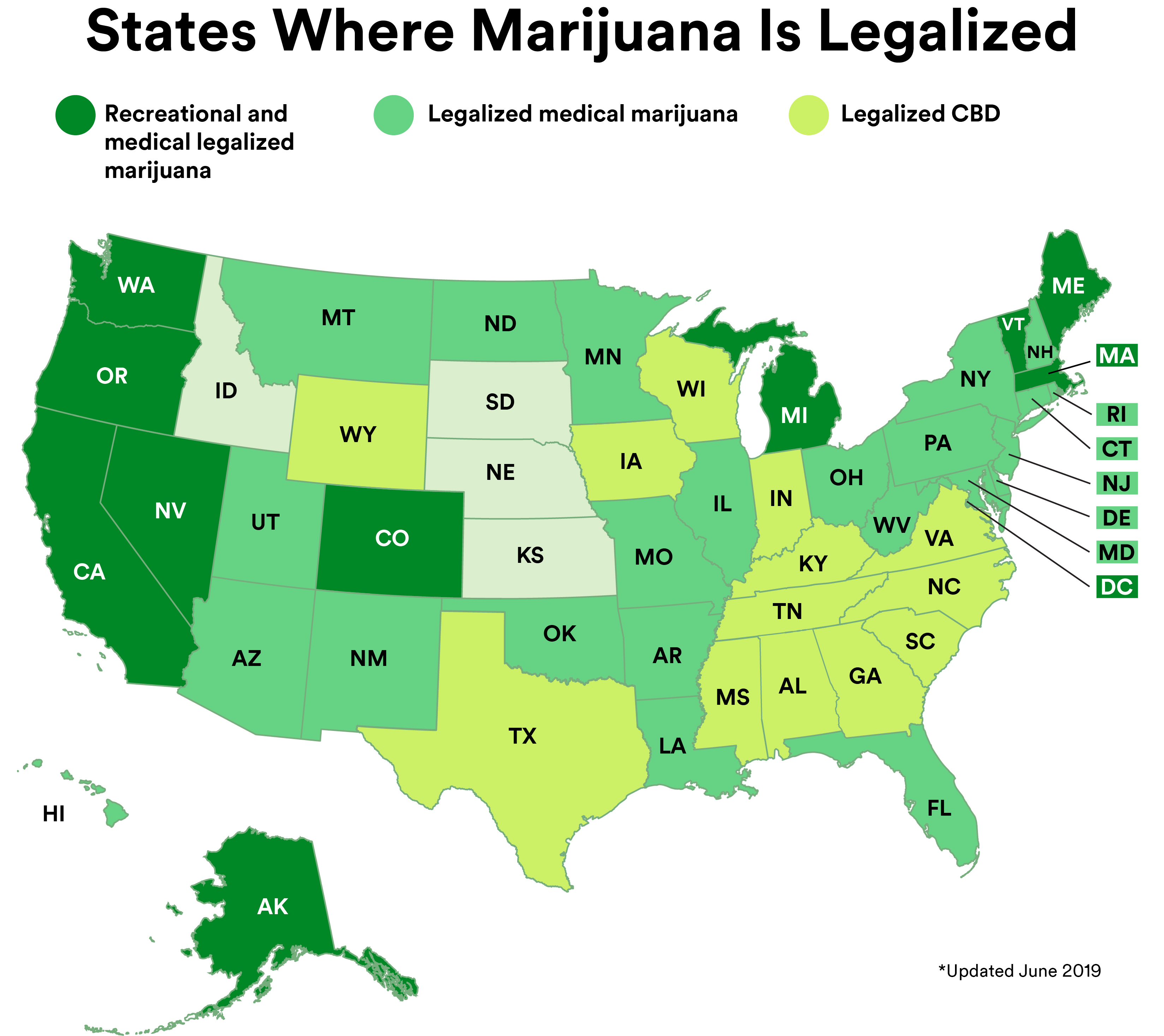 map showing where medical marijuana is legal and to what extent
